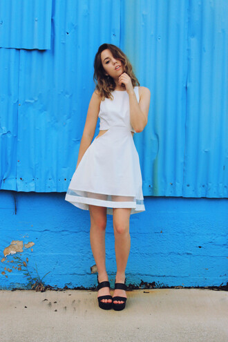 views of now blogger white dress cut-out dress platform sandals