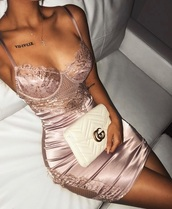dress,satin,lace dress,pink dress,satin dress,bodycon dress,silk dress,mauve pink dress,luxury,gucci