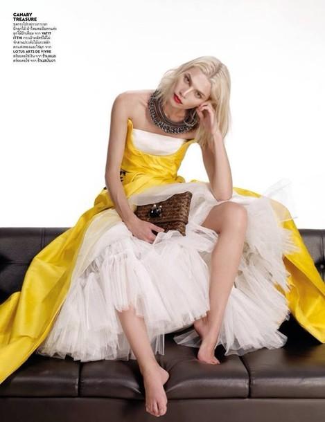 dress yellow white lace cute