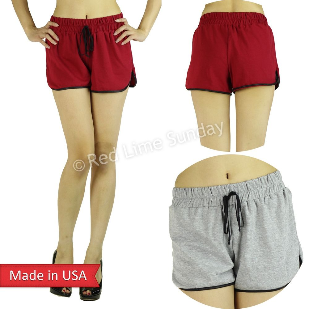 New french terry shorts w faux leather trim gym jogger drawstring pants bottoms