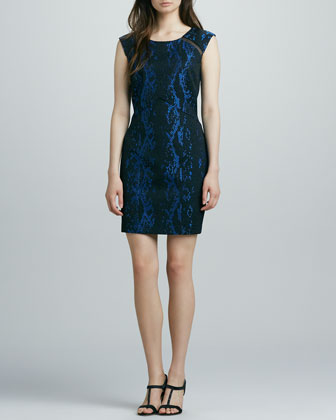 Phoebe Couture Snake-Print Sheath Dress  - Neiman Marcus