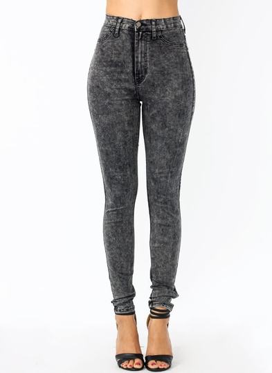 waisted-acid-wash-jeans BLACK GREY - GoJane.com