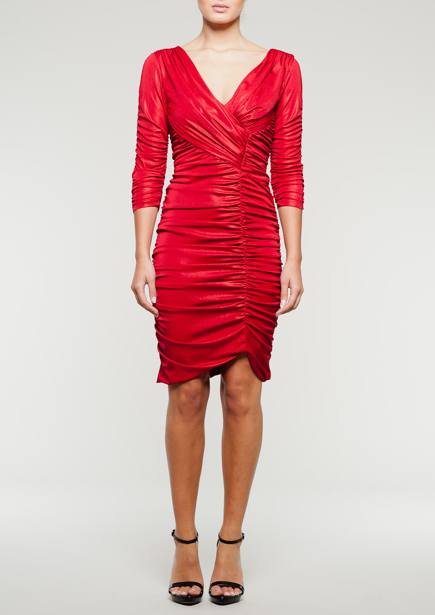 Red jersey wrap dress with