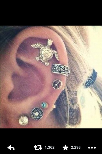 jewels sea turtles sea gold gold jewelry earrings ear piercings diamonds ear cuff dragon unicorn