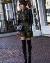 dress,snake skin,knee high boots,black boots,heel boots,leather jacket,crossbody bag,black belt