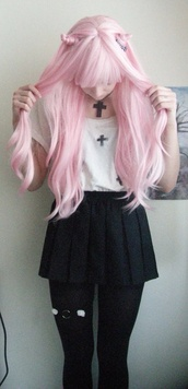 blouse,crosses,goth,white,black,shirt,cross,kawaii,cute,creepy,skirt,tights,lace,spikes,underwear,jewels