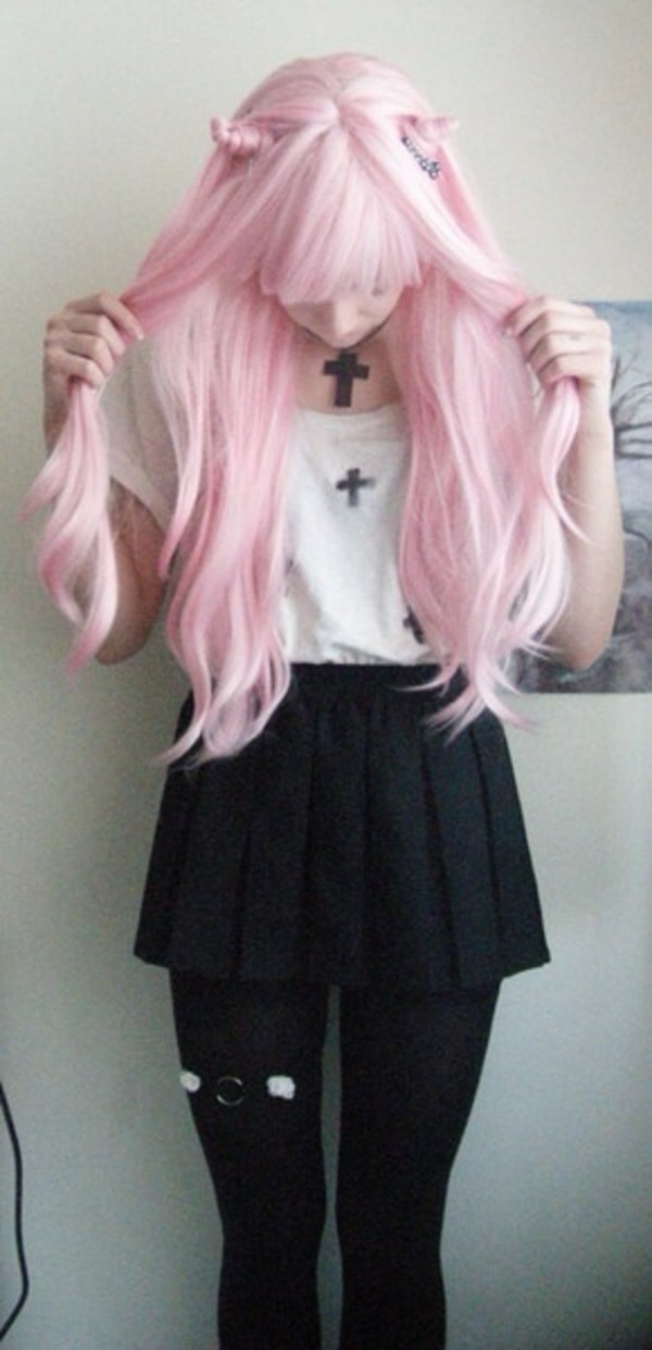 blouse crosses goth white black shirt cross kawaii cute creepy skirt tights lace spikes underwear jewels