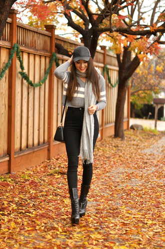 hapa time blogger bag scarf cap grey sweater high waisted jeans black boots winter outfits jeans