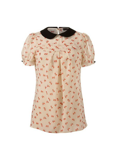 bows cute blouse orange peter pan collar