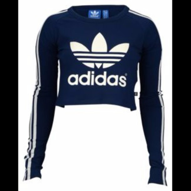 Shirt adidas adidas trefoil trefoil blue navy crop for Adidas long sleeve t shirt with trefoil logo