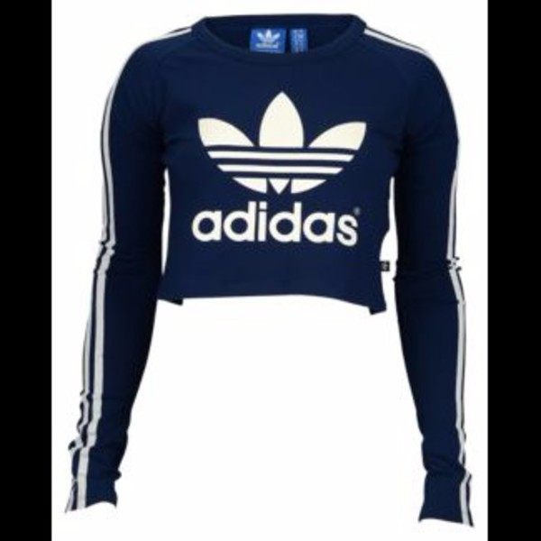 Shirt adidas adidas trefoil trefoil blue navy navy for Adidas long sleeve t shirt with trefoil logo