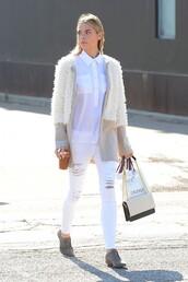 cardigan,jacket,jaime king,jeans,white