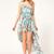 Bohemia Floral Sleeveless Chiffon Asymmetrical Dress Blue - Sheinside.com