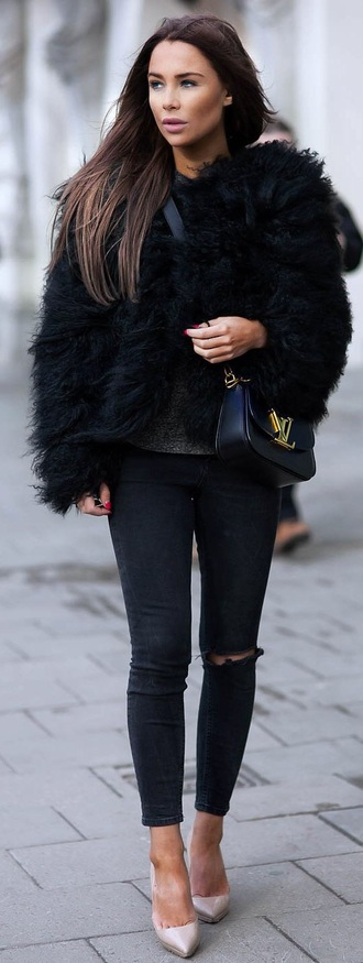 coat black faux fur jacket