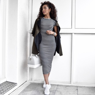 sara-joleen kaveh moghaddam blogger dress striped dress furla furla bag