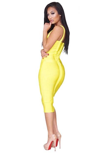 Criss Cross Midi Bandage Dress Yellow