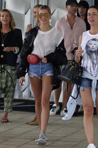 shoes sneakers denim shorts top sunglasses hailey baldwin model off-duty jacket