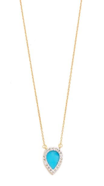 Adina Reyter Small Turquoise + Diamond Teardrop Pendant Necklace - Gold/Turquoise