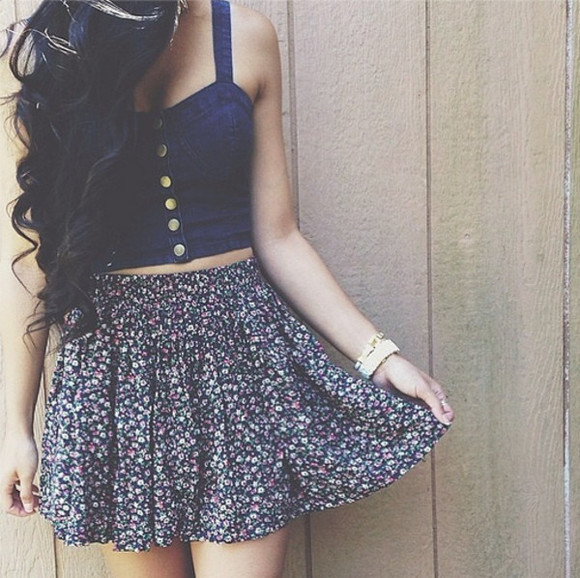 skirt floral skirt jean top top shirt floral denim dress cute crop tops floral navy crop too summer outfits too blouse