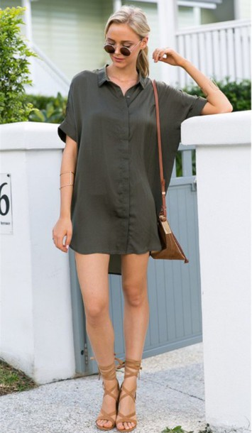 da3a2f17bd dress girl girly girly wishlist olive green oversized cute button up  oversized shirt shirt dress