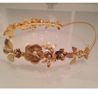 hair accessory headband gold leaves wedding accessories wedding hairstyles