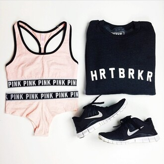 sweater nyct clothing sweatshirt graphic sweater nike victoria's secret spring ootd ootd sweater outfit urban pastel pink