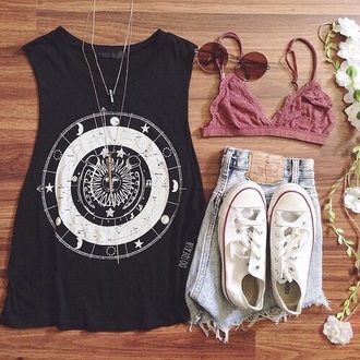 tank top black top hippie boho bag jacket t-shirt shirt underwear shorts shoes sunglasses bra lace lacy bra lacy bralette hipster outfit instagram clothes moon astronomy constellations grunge