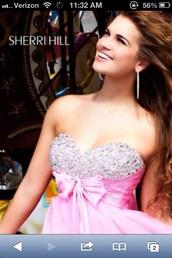 dress,sherri hill,prom dress,pink,bows
