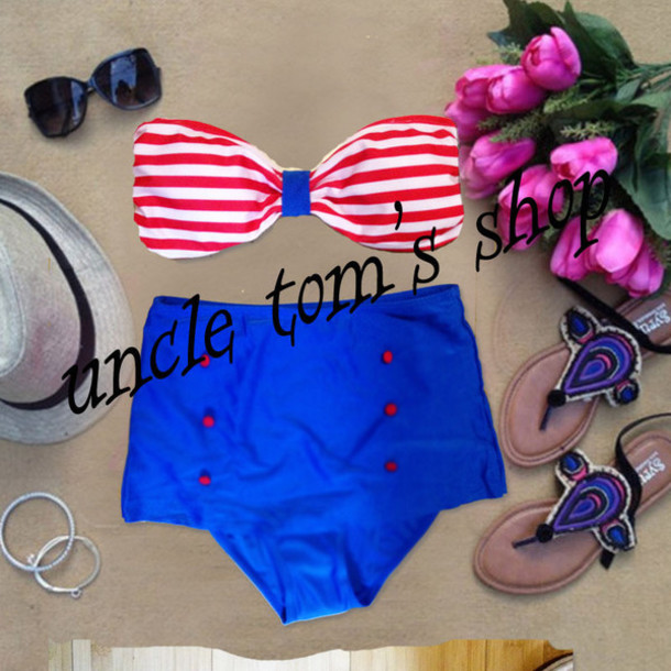 swimwear navy bikini high waisted bikini vintage swimsuit vintage swimwear high waist bathing suit women bikini red dress retro swimwear