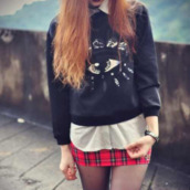 sweater,button up,skirt,watch,tights,red,black and white,shirt,sweatshirt