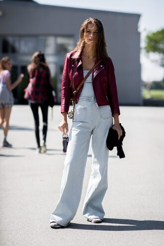 pants overalls copenhagen fashion week streetstyle wide-leg pants denim overalls denim dungarees jacket leather jacket