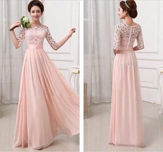 dress pink dress long sleeve dress long prom dress long sleeves long dress maxi dress lace dress