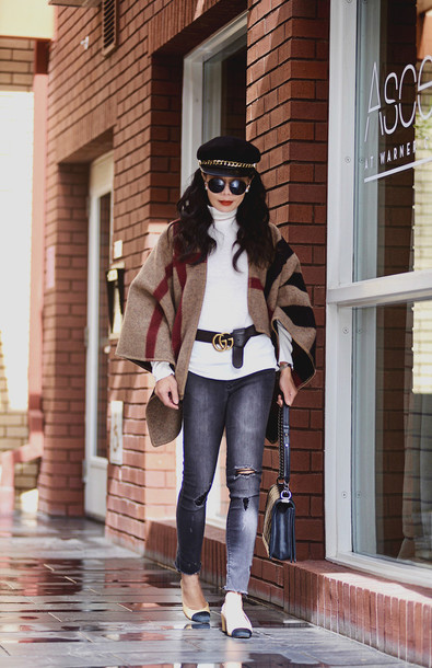 72e4cfed09d909 hallie daily blogger belt jeans bag sunglasses gucci cardigan mid heel  pumps shoulder bag grey jeans