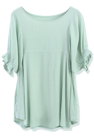 blouse relaxed green crepe dolly top