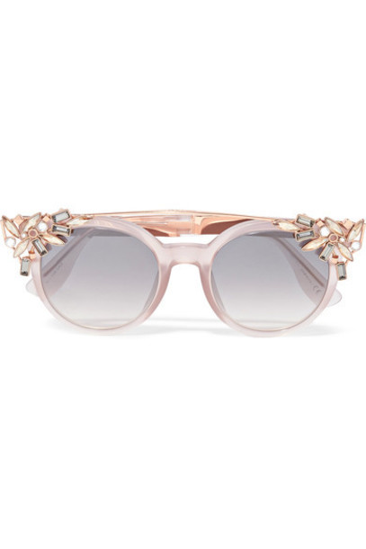 rose gold rose embellished sunglasses gold blush