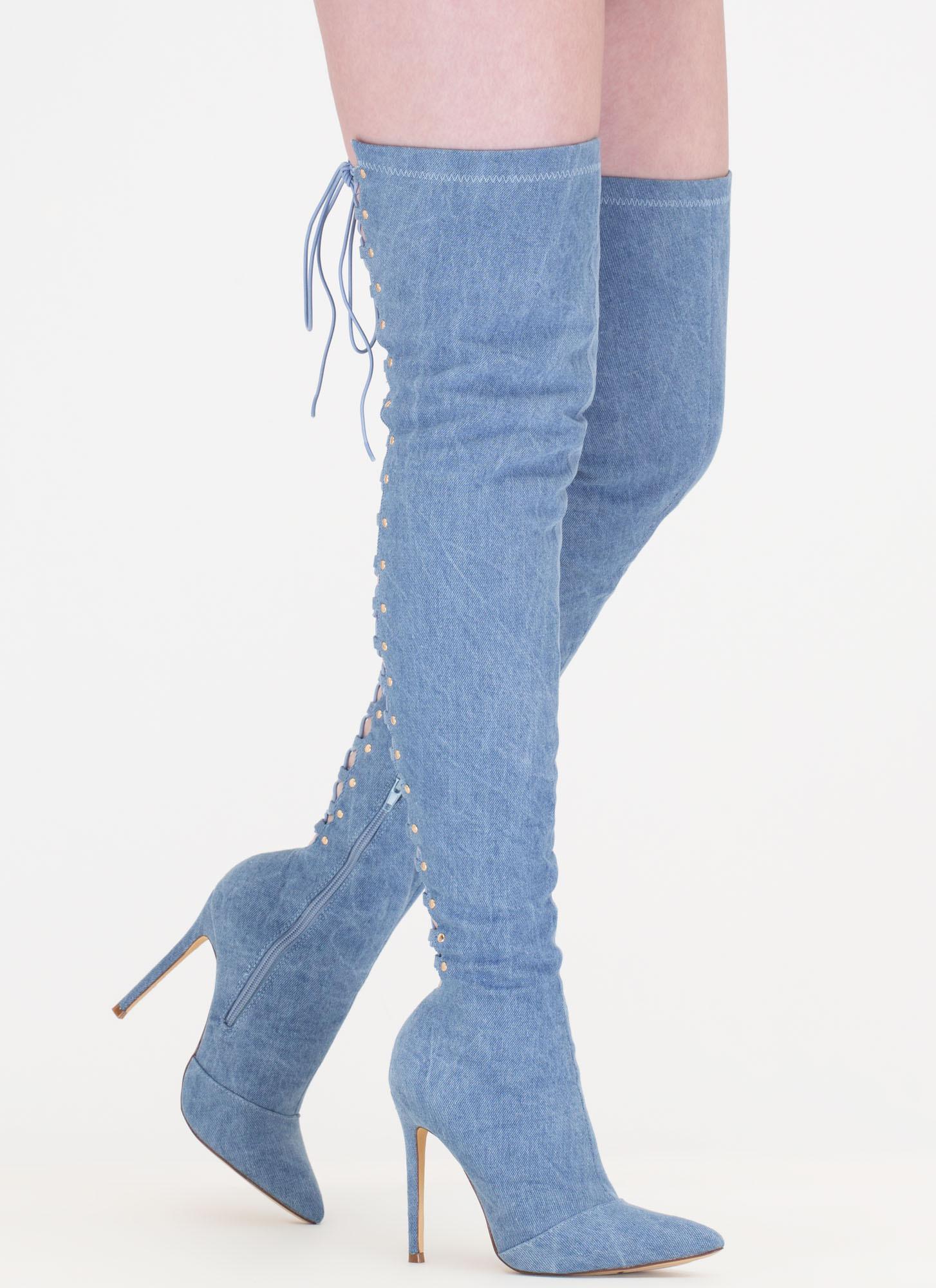 Back Fever Denim Thigh-High Boots DENIM - GoJane.com