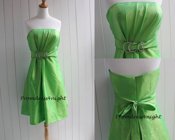 green dress green bridesmaid dress taffeta bridesmaid dress knee length bridesmaid dress green taffeta dress green knee length bridesmaid dress lime green short bridesmaid dress strapless bridesmaid dress lime green homecoming dress
