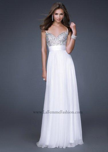 White Sequin Top Spaghetti Strap La Femme 16802 Long Prom Dress [La Femme 16802 White] - $175.00 : Prom Dresses 2014 Sale, 70% off Dresses for Prom