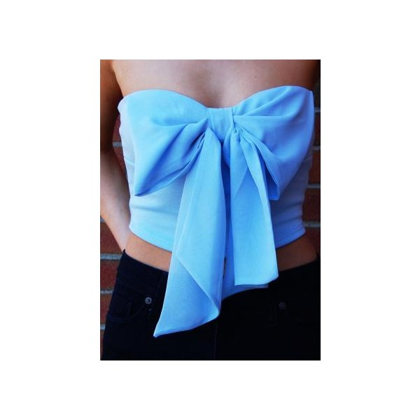 Light Blue Strapless Crop Top with Chiffon Bow Front - Polyvore