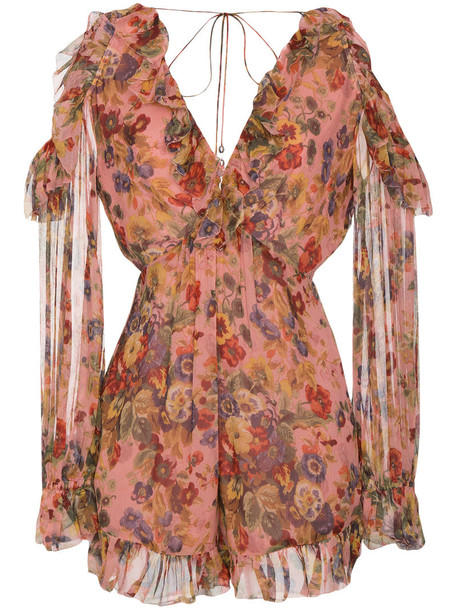 women cold floral print silk purple pink romper
