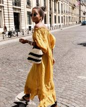 dress,lounge wear,maxi dress,off the shoulder,sandals,bag,sunglasses,round sunglasses,earrings