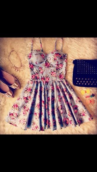 floral dress blue dress dress shoes flower dress floral pink cream pretty casual formal multicolored flower print dress pink dress
