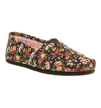 Toms Seasonal Classic Slip On Black Floral Exclusive - Flats
