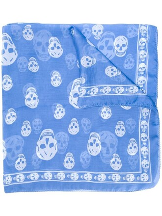 skull women scarf blue silk
