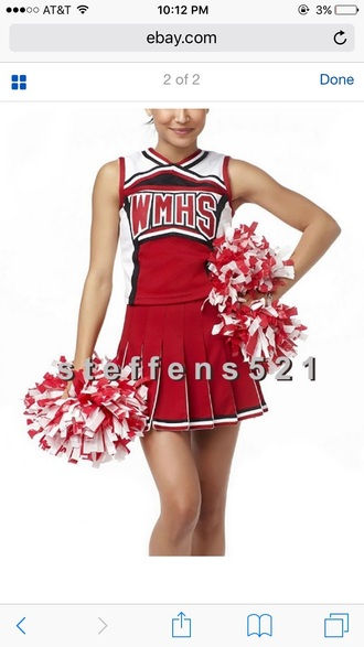 skirt cheerleading glee halloween costume halloween red cheerleader uniforme