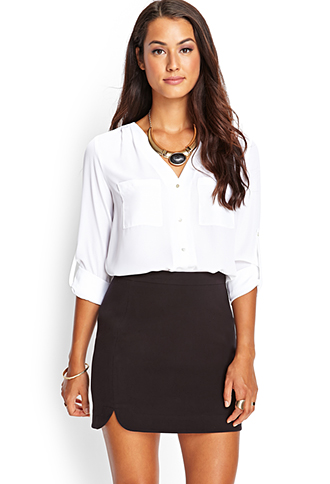 Dolphin Hem Mini Skirt | FOREVER21 - 2000122486