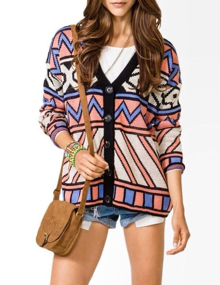 women sweater tribal print sweater oversized cardigan knit sweater patten