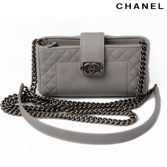 phone cover phone clutch grey leather chain edgy faux leather clutch designer