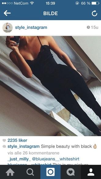 jumpsuit black bikini fashion pants top