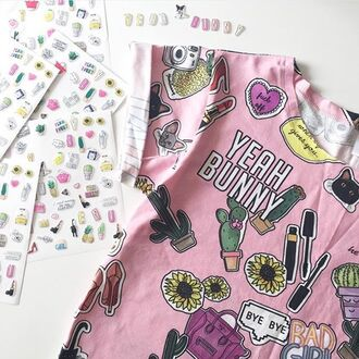 t-shirt yeah bunny pink tee cute girly stickers cactus cacti tumblr